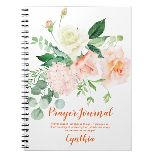 Peach and White Roses Greenery Prayer Journal