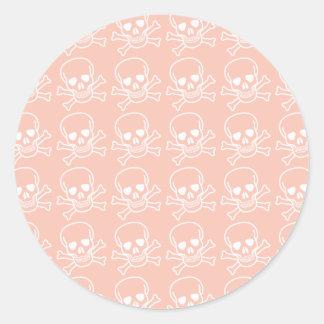 Peach and White Skulls Pattern Classic Round Sticker