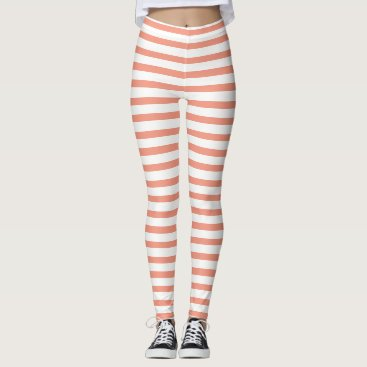 Halloween Themed Peach And White Striped Leggings