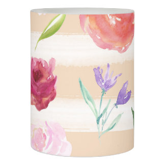 Peach and White Stripes Watercolor Floral Flameless Candle