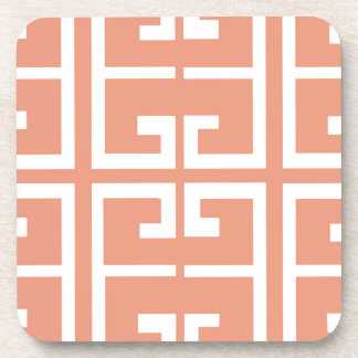 Peach and White Tile Coaster