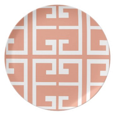 Aztec Themed Peach and White Tile Dinner Plate