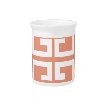 Aztec Themed Peach and White Tile Drink Pitcher