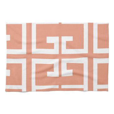 Aztec Themed Peach and White Tile Hand Towel