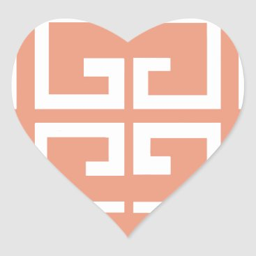 Aztec Themed Peach and White Tile Heart Sticker