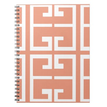 Aztec Themed Peach and White Tile Notebook