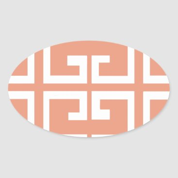 Aztec Themed Peach and White Tile Oval Sticker