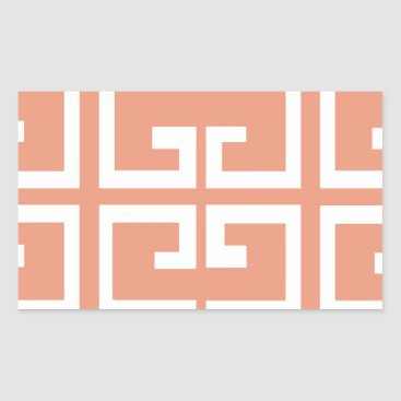 Aztec Themed Peach and White Tile Rectangular Sticker