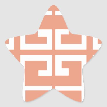 Aztec Themed Peach and White Tile Star Sticker