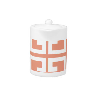 Peach and White Tile Teapot