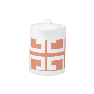 Aztec Themed Peach and White Tile Teapot