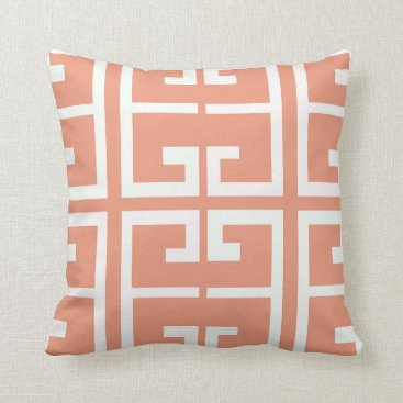 Aztec Themed Peach and White Tile Throw Pillow
