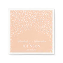 Peach and White Wedding Confetti Pattern Napkin