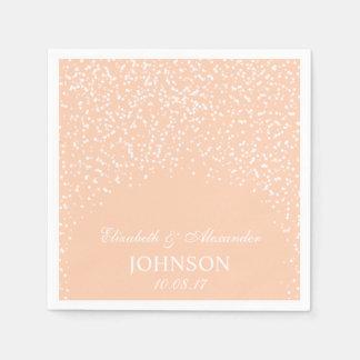 Peach and White Wedding Confetti Pattern Napkin