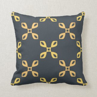 Peach and Yellow Reversible Floral Pattern Throw Pillows