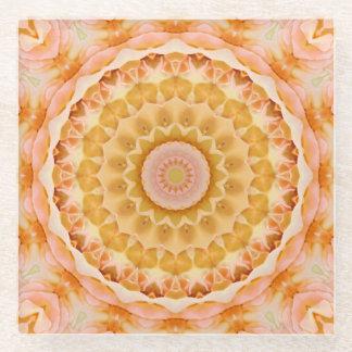 Peach and Yellow Rose Mandala Kaleidoscope Glass Coaster
