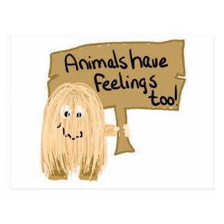 Peach animal feelings too postcard