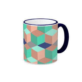 Peach Aqua Cobalt Geometric Cubes Ringer Mug