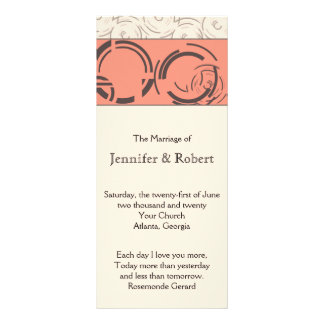 Peach Art Deco Circles Wedding Program