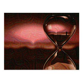 Peach Artistic Sunrise With Hourglass Postcard