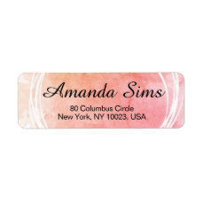 Peach Artsy Custom Label With White Circles