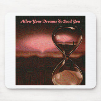 Peach Artsy Sunrise With Hourglass & Saying Mouse Pad