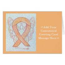 Peach Awareness Ribbon Angel Greeting Cards