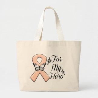 Peach Awareness Ribbon For My Hero Large Tote Bag