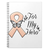 Peach Awareness Ribbon For My Hero Notebook