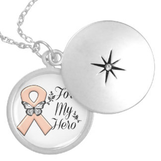 Peach Awareness Ribbon For My Hero Round Locket Necklace