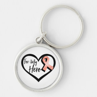 Peach Awareness Ribbon For My Hero Silver-Colored Round Keychain