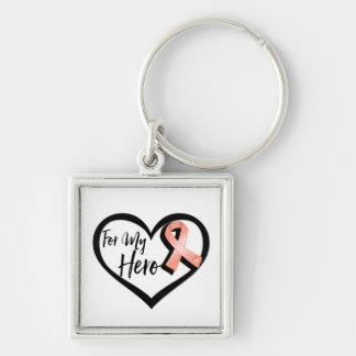 Peach Awareness Ribbon For My Hero Silver-Colored Square Keychain