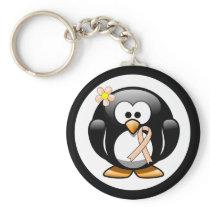 Peach Awareness Ribbon Penguin Keychain