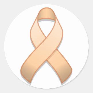 Peach Awareness Ribbon Round Sticker
