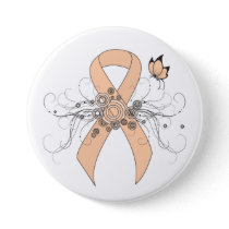 Peach Awareness Ribbon with Butterfly Button