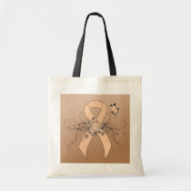 Peach Awareness Ribbon with Butterfly Tote Bag