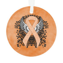 Peach Awareness Ribbon with Wings Ornament