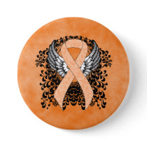Peach Awareness Ribbon with Wings Pinback Button