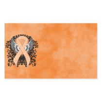 Peach Awareness Ribbon with Wings Rectangular Sticker