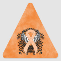 Peach Awareness Ribbon with Wings Triangle Sticker