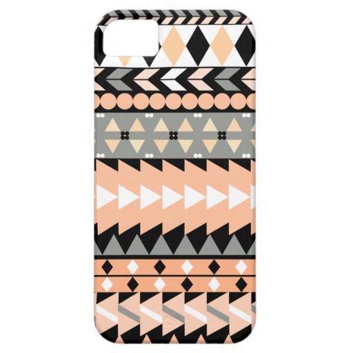 Peach Aztec Black iPhone 5 Case