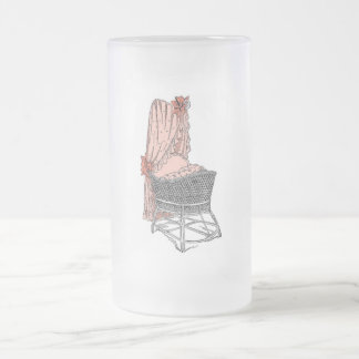 Peach Baby Bassinet Frosted Glass Beer Mug