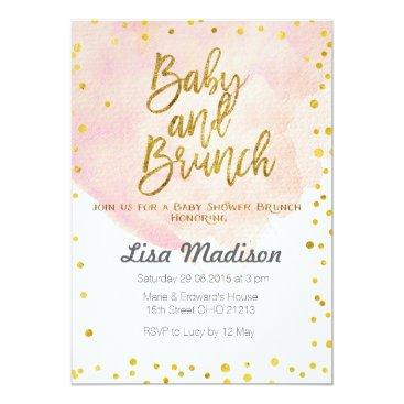 Toddler & Baby themed Peach Baby Shower Brunch Invitation