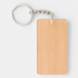 Peach Bamboo Wood Grain Look Double-Sided Rectangular Acrylic Keychain
