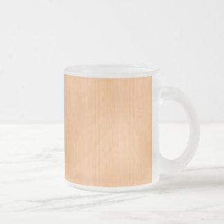 Peach Bamboo Wood Grain Look Frosted Glass Coffee Mug