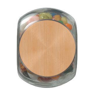 Peach Bamboo Wood Grain Look Glass Jars