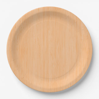 Peach Bamboo Wood Grain Look Paper Plate