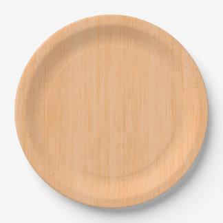 Peach Bamboo Wood Grain Look Paper Plate