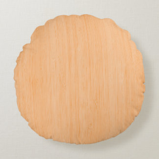 Peach Bamboo Wood Grain Look Round Pillow