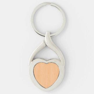 Peach Bamboo Wood Grain Look Silver-Colored Heart-Shaped Metal Keychain
